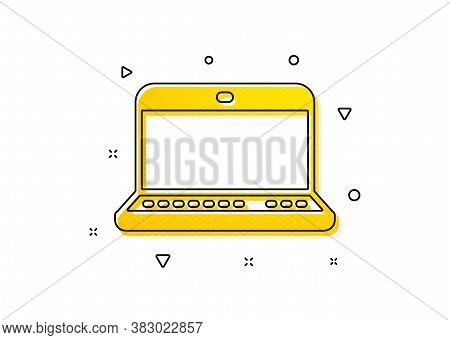 Notebook Sign. Laptop Computer Icon. Portable Personal Computer Symbol. Yellow Circles Pattern. Clas