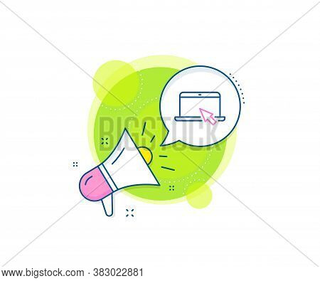 Notebook With Mouse Cursor Sign. Megaphone Promotion Complex Icon. Laptop Computer Icon. Portable Pe