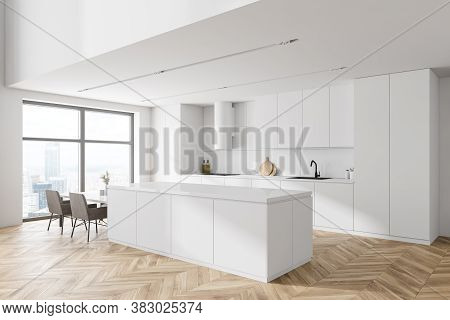 Corner Of Modern Kitchen With White Walls, Wooden Floor, White Cabinets And Bar With Chairs. 3d Rend