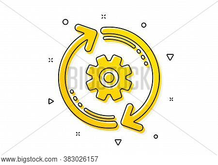 Engineering Tool Sign. Cogwheel Icon. Cog Gear, Refresh Settings Symbol. Yellow Circles Pattern. Cla