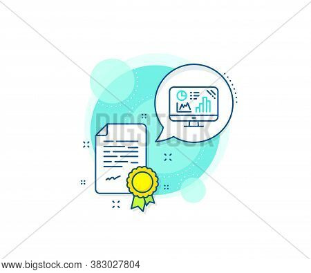 Column Chart Sign. Certification Complex Icon. Analytics Graph Line Icon. Growth Diagram Symbol. Cer