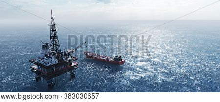 Offshore drilling rig on the sea. Oil platform for gas and petroleum or crude oil. Industrial 3D illustration