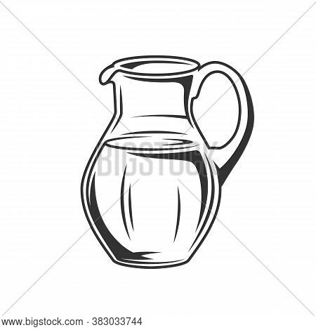Milk Jug Isolated On White Background. Design Element. Cheese And Milk Concept. Vector Illustration