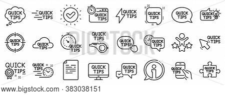 Set Of Helpful Tricks, Solution And Quickstart Guide Linear Icons. Quick Tips Line Icons. Tutorial,