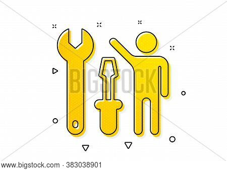 Repairman Service Sign. Spanner Tool Icon. Fix Instruments Symbol. Yellow Circles Pattern. Classic R