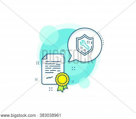 Repair Service Sign. Certification Complex Icon. Spanner Tool Line Icon. Shield Protection Symbol. C