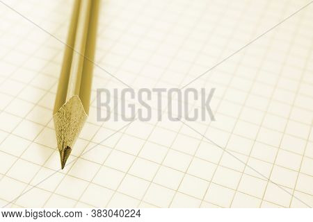 Light Background On A School Theme With Place For Text. Wooden Pencil Lies On A Squared Notebook She
