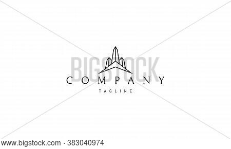 Vector Logo On Which An Abstract Image Of Three Obelisks.