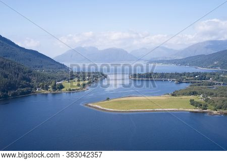 Loch Leven Aerial View Showing Ballachulish Bridge In Glencoe Scotland