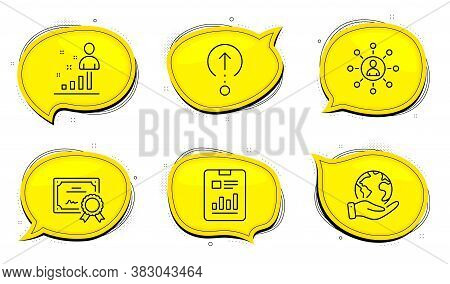 Swipe Up Sign. Diploma Certificate, Save Planet Chat Bubbles. Stats, Networking And Report Document