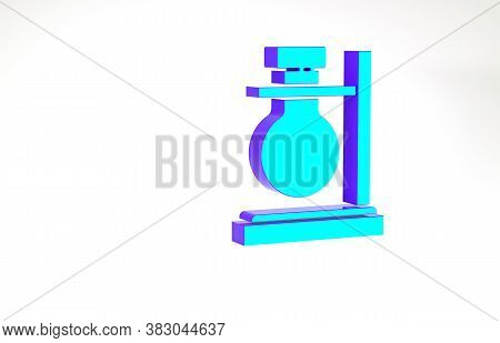 Turquoise Glass Test Tube Flask On Stand Icon Isolated On White Background. Laboratory Equipment. Mi