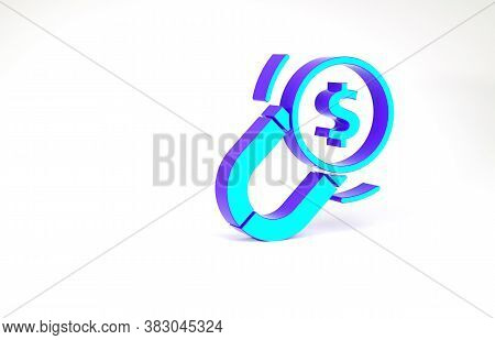 Turquoise Magnet With Money Icon Isolated On White Background. Concept Of Attracting Investments. Bi