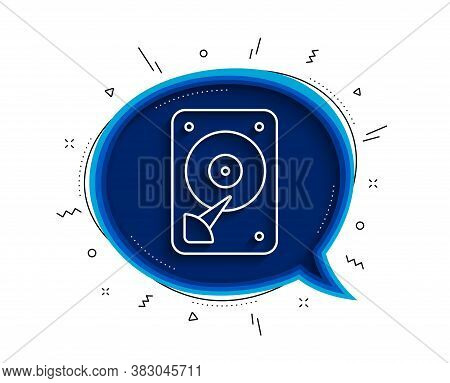 Hdd Icon. Chat Bubble With Shadow. Hard Disk Storage Sign. Hard Drive Memory Symbol. Thin Line Hdd I