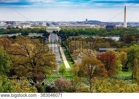 National Mall Lincoln Memorial Washington Monument Obelisk View From Arlington Cemetery