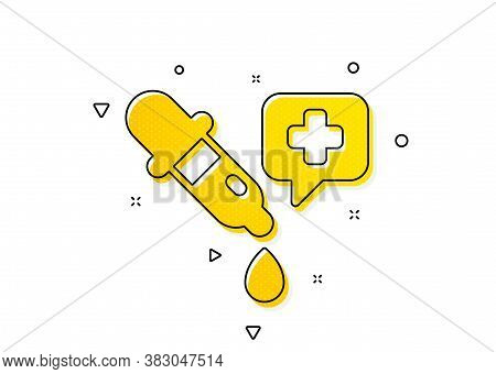 Laboratory Sign. Chemistry Pipette Icon. Analysis Lab Symbol. Yellow Circles Pattern. Classic Chemis