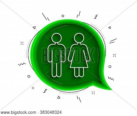Restroom Line Icon. Chat Bubble With Shadow. Wc Toilet Sign. Public Lavatory Symbol. Thin Line Restr