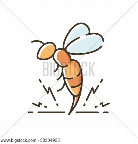 Bee Venom Rgb Color Icon. Honeybee Attack, Flying Insect Injecting Poison. Beekeeping, Apiculture, A