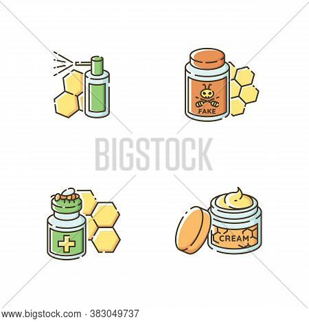 Natural Bee Products Rgb Color Icons Set. Propolis Mouth Spray, Fake Honey, Apitherapy And Honey Ski