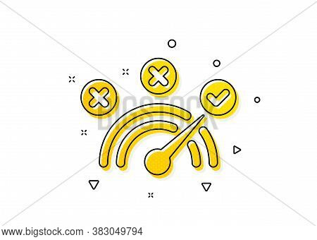 Speedometer Concept Sign. Correct Answer Icon. Check Symbol. Yellow Circles Pattern. Classic Correct
