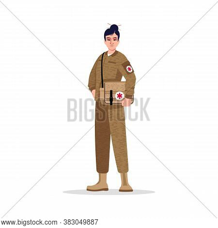 Combat Medic Semi Flat Rgb Color Vector Illustration. Military Surgeon. Noncombatant. Armed Forces.