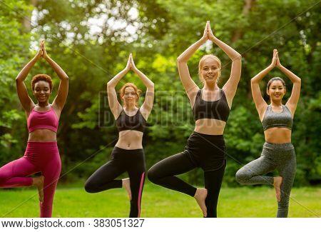 Balance Yoga Asanas. Group Of Millennial Girls Doing Tree Pose At Park