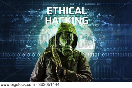 Faceless hacker at work with ETHICAL HACKING inscription, Computer security concept