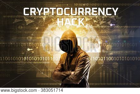 Faceless hacker at work with CRYPTOCURRENCY HACK inscription, Computer security concept