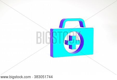 Turquoise First Aid Kit Icon Isolated On White Background. Medical Box With Cross. Medical Equipment