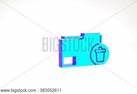 Turquoise Delete Folder Icon Isolated On White Background. Delete Or Error Folder. Close Computer In