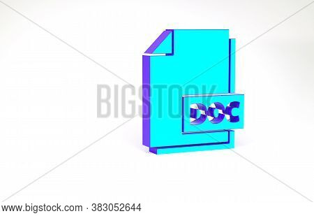 Turquoise Doc File Document. Download Doc Button Icon Isolated On White Background. Doc File Extensi