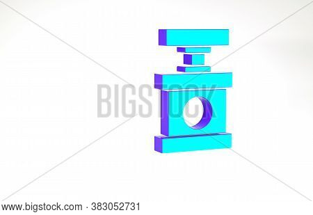 Turquoise Handle Detonator For Dynamite Icon Isolated On White Background. Minimalism Concept. 3d Il