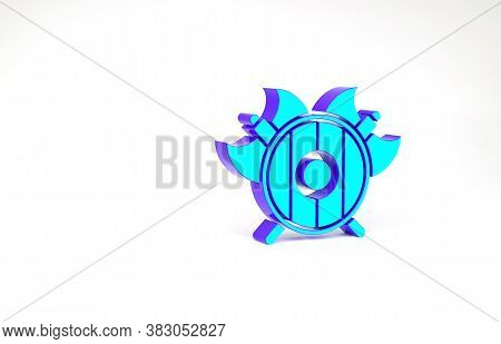 Turquoise Medieval Shield With Crossed Axes Icon Isolated On White Background. Battle Axe, Execution