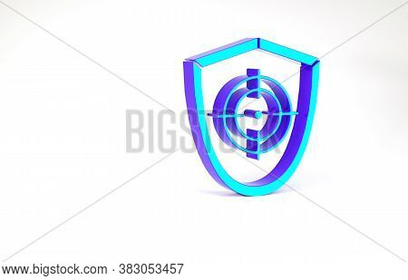 Turquoise Target Sport Icon Isolated On White Background. Clean Target With Numbers For Shooting Ran