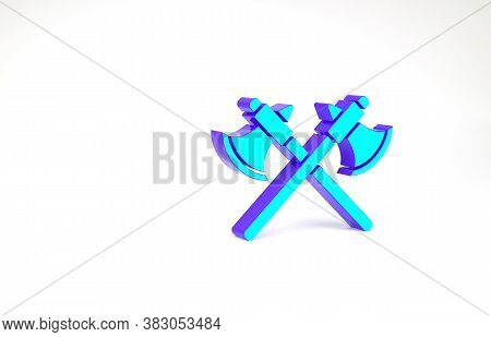 Turquoise Crossed Medieval Axes Icon Isolated On White Background. Battle Axe, Executioner Axe. Mini