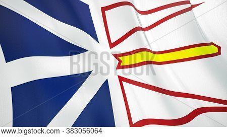 The Waving Flag Of Newfoundland And Labrador . High Quality 3d Illustration. Perfect For News, Repor