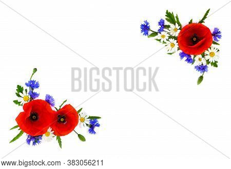 Frame Of Red Poppies, Cornflowers And Chamomile On White Background With Space For Text. Flat Lay, T