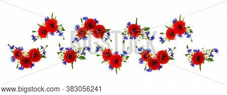 Red Poppies, Cornflowers And Chamomile On White Background. Flat Lay, Top View