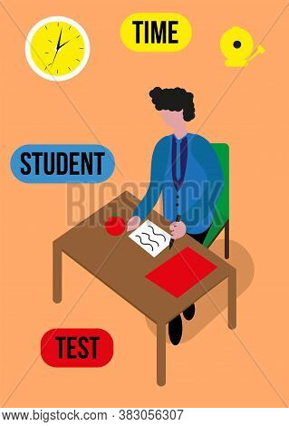Exams Test Student In School, University Student, Holding Pencil For Testing Exam Writing On Table C