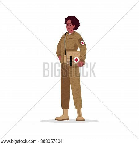Military Surgeon Semi Flat Rgb Color Vector Illustration. Combat Medic. Military Doctor. Young Afro