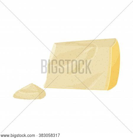 Piece Of Parmesan Cheese And A Small Pile Of Grated Cheese. Realistic Vector Illustration.