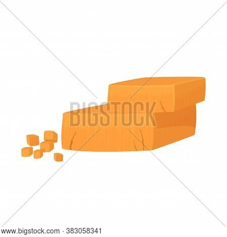 Pieces Of Cheddar Cheese. Realistic Vector Illustration Isolated On White Background.