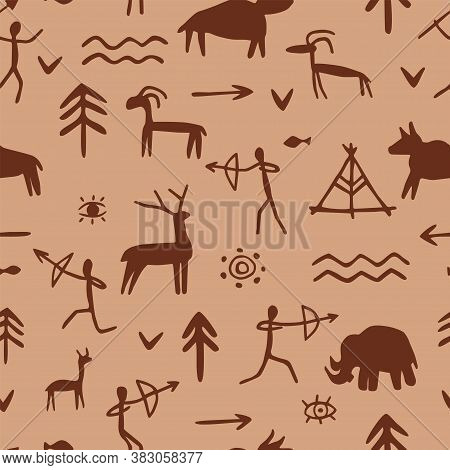 Seamless Pattern With Rock Paintings Of Prehistoric Humans, Animals, Weapons. Cave Drawings Of Diffe