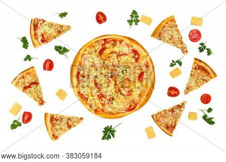Tasty Pizza (with Chicken, Tomatoes, Pineapples, Parsley) And Pieces Of Pizza,  Tomatoes, Pieces Of