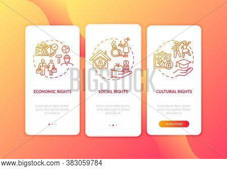 Human Rights Groups Onboarding Mobile App Page Screen With Concepts. Social And Civil Rights. Walkth
