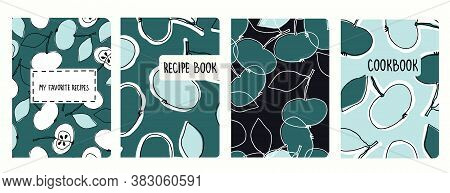 Cover Page Vector Templates For Recipe Books Based On Seamless Patterns With Hand Drawn Apples. Cook