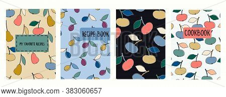 Cover Page Vector Templates For Recipe Books Based On Seamless Patterns With Hand Drawn Apples, Pear