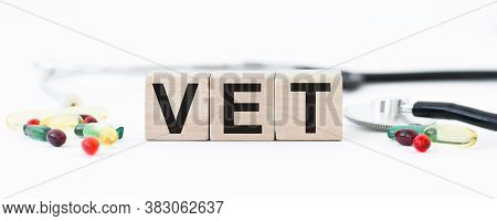Vet Text On Wooden Bitches. Animal Health Concept