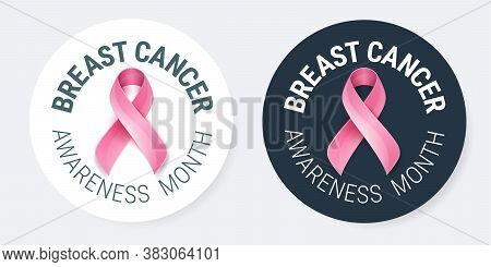 Breast Cancer Awareness Pins Design Template - Pink Breast Cancer Ribbon And Text 'breast Cancer Awa