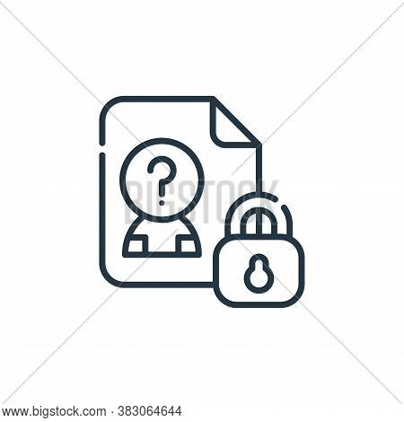 personal data icon isolated on white background from cyber security collection. personal data icon t
