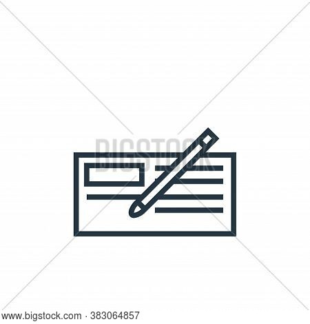 cheque icon isolated on white background from banking collection. cheque icon trendy and modern cheq